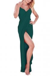 Womens Sexy Greek Goddess Spaghetti Strap Sarong Beachwear Dark Green