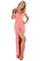 Womens Sexy Greek Goddess Spaghetti Strap Sarong Beachwear Pink