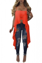Womens Sexy Straps Asymmetrical Hem Camisole Top Orangered