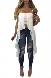 Womens Sexy Straps Asymmetrical Hem Camisole Top White