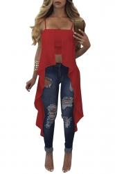 Womens Sexy Straps Asymmetrical Hem Camisole Top Ruby