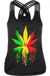 Womens Sexy Maple Leaf Printed Cross Strings Camisole Top Black