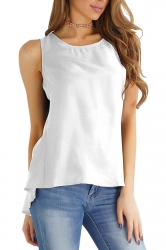 Womens Casaul Plain High Low Zipper Sleeveless Camisole Top White