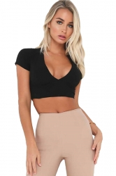 Womens Sexy Lace-Up Open Back Deep V-Neck Short Sleeve Crop Top Black