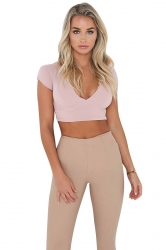Womens Sexy Lace-Up Open Back Deep V-Neck Short Sleeve Crop Top Pink