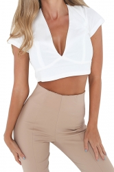 Womens Sexy Lace-Up Open Back Deep V-Neck Short Sleeve Crop Top White