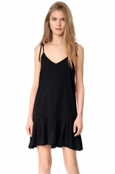 Women Sexy V Neck Straps Ruffled Hem Lacing Smock Dress Black