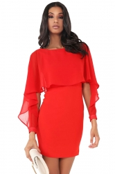 Women Ruffle Chiffon Patchwork Long Sleeve Bodycon Dress Red