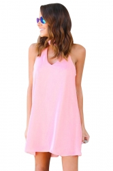 Women Plain Halter Sleeveless Cut Out Smock Dress Pink