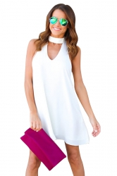 Women Plain Halter Sleeveless Cut Out Smock Dress White