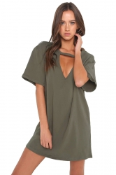 Women Casual V Neck Short Sleeve Loose Shirt Dress Army Green