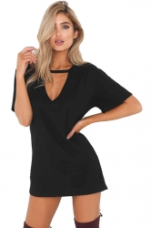 Women Casual V Neck Short Sleeve Loose Shirt Dress Black