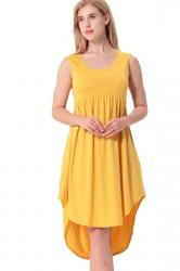 Women Crew Neck Sleeveless High Low Pleated Dress Yellow