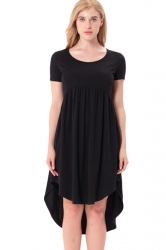 Women Crew Neck High Low Pleated Short Sleeve Smock Dress Black