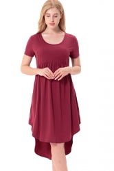 Women Crew Neck High Low Pleated Short Sleeve Smock Dress Ruby