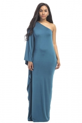 Women Sexy One Shoulder Ruffled Maxi Evening Dress Blue