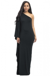 Women Sexy One Shoulder Ruffled Maxi Evening Dress Black