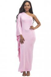 Women Sexy One Shoulder Ruffled Maxi Evening Dress Pink
