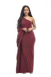 Women Sexy One Shoulder Ruffled Maxi Evening Dress Ruby