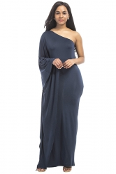 Women Sexy One Shoulder Ruffled Maxi Evening Dress Navy Blue