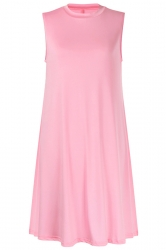 Women Casual Sleeveless Crew Neck Loose Smock Dress Pink