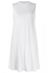 Women Casual Sleeveless Crew Neck Loose Smock Dress White