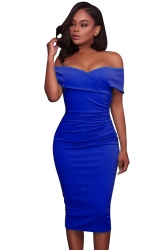 Womens Sexy Off-The-Shoulder Slimming Pleated Bodycon Dress Blue