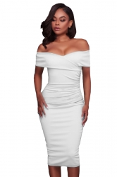 Womens Sexy Off-The-Shoulder Slimming Pleated Bodycon Dress White