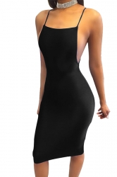 Women Sexy Strap Backless Tight Club Wear Dress Black