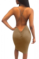Women Sexy Strap Backless Tight Club Wear Dress Khaki