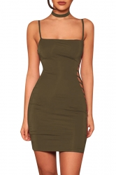 Women Sexy Side Hollow Out Strap Tight Club Wear Dress Army Green