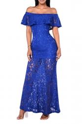 Women Elegant Off Shoulder Lace Cut Out Maxi Dress Sapphire Blue