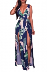 Women Sexy Deep V Neck High Split Hollow Out Printed Dress Navy Blue