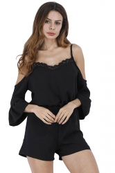 Women Straps Flare Sleeve High Waist Selvedge Romper Black