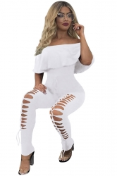 Women Off Shoulder Ruffle Hollow Out Legs Draw String Jumpsuit White