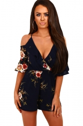 Women Fashion Floral Ruffle Wrap Cold Shoulder Romper Black