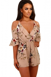Women Fashion Floral Ruffle Wrap Cold Shoulder Romper Khaki