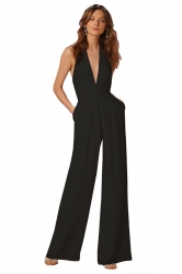 Women Sexy Halter Deep V-Neck High Waist Wide Legs Jumpsuit Black