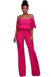 Women Sexy Off Shoulder Lace Ruffle Wide Leg Jumpsuit Rose Red