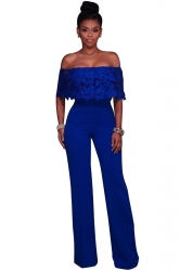 Women Sexy Off Shoulder Lace Ruffle Wide Leg Jumpsuit Sapphire Blue