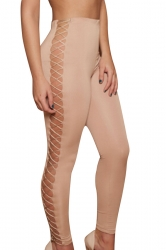 Women Sexy Sideways Hollow Out Lace-Up Slimming Pants Pink