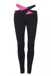 Women Cross Bandage Tight Sports Leggings Rose Red