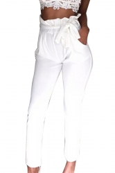 Women Stringy Selvedge Elastic Waist Harem Pants With Belt White