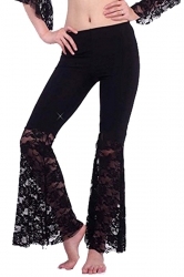 Women Plus Size Lace Patchwork Slimming Flared Pants Black