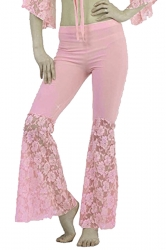 Women Plus Size Lace Patchwork Slimming Flared Pants Pink