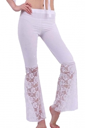 Women Plus Size Lace Patchwork Slimming Flared Pants White