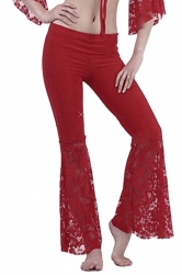 Women Plus Size Lace Patchwork Slimming Flared Pants Ruby