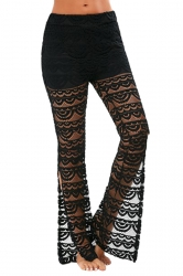 Women Sexy See Through Lace Patchwork Split Flare Legs Pants Black