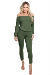 Women Fashion Off Shoulder Side Stripes Two Pieces Suit Army Green