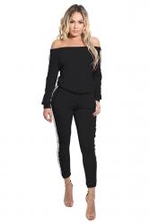 Women Fashion Off Shoulder Side Stripes Two Pieces Suit Black